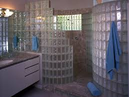 walk in door less serpentine shaped glass block shower wall built with pittsburgh