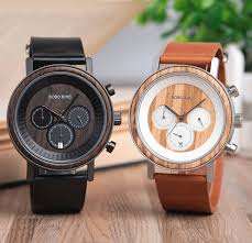 mens wood watch with steel case leather strap