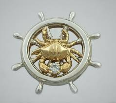 ship s wheel pendant sterling silver with 14kt bailey crab w 10ct diamond 1 1 4 inch