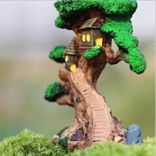 old tree house mini garden ornament miniature figurine craft diy fairy plant pot
