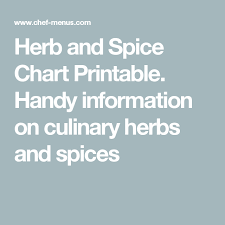 Printable Culinary Herb Chart Herb And Spice Chart Printable Handy Information On