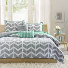 intelligent design nadia teal grey bed covers