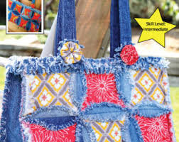PATTERN Denim Circle Rag Quilt pattern UPDATED use your & PDF DOWNLOAD Purse Pattern Denim Circle Rag Bag made with Recycled Jeans Adamdwight.com