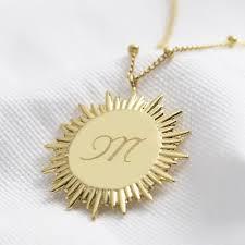 personalised initial gold sun pendant