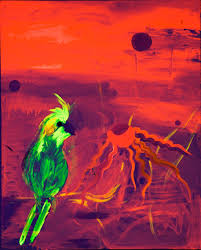 beautiful yellow bird a florescent acrylic painting for by fine artist sart jacobsohn
