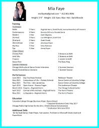 Dance Resume Template For College Dance Resume Templates Dance