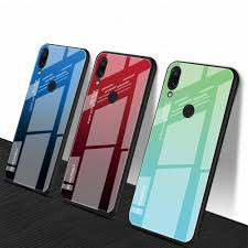 bakeey grant color tempered glass soft tpu back cover protective case for xiaomi redmi note 7 note 7 pro black blue cod