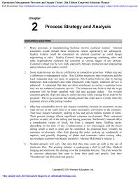 Process Design And Analysis In Operations Management Operations Management Processes And Supply Chains 12th