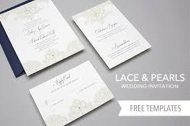 Free Template Lace Pearls Wedding Invitation Set