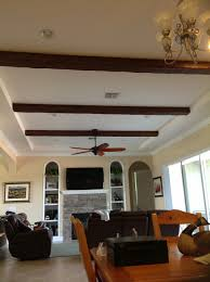 Alcove ceiling in a Florida home's living room gets a fresh new look with  Timber beams