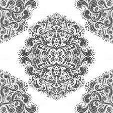 Zwartwit Vintage Vector Naadloze Patroon Behang Elegante Klassiek