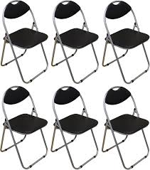 black folding chairs padded desk reception studying guest dining chair x6