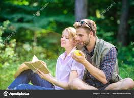 couple soulmates at romantic date pleasant weekend romantic couple students enjoy leisure with poetry nature background