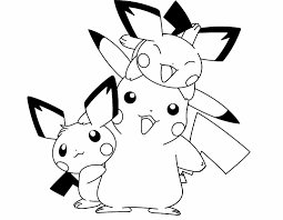 Pokemon Pikachu And Two Friends Are Cute Coloring Page Pikachu