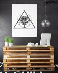 Tree Of Life Knowledge Enhanced Matte Paper Poster Bodhi Tree Geometrical Art Ink Tattoo Style Black White Zuskaart