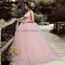 Pink Ball Gown Prom Dresses <b>2019</b> Sleeveless <b>Backless</b> Puffy Tulle ...
