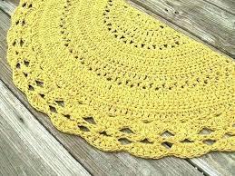 half circle rugs round rug mustard yellow cotton crochet in non skid canada