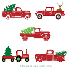 It features a vintage red truck uniquely covered in snow and a wreath neatly attached on the front grill. Free Christmas Truck Svg Files