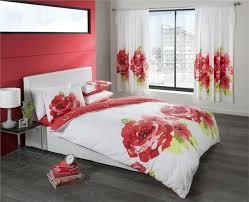 new single size modern white red flower duvet set quilt cover bed set