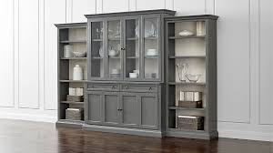 cameo 4 piece grey glass door wall unit with open bookcases reviews crate and barrel