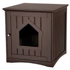 Enclosed Cat Litter Box Furniture Hidden Wooden Covered Large Kitty  Enclosure
