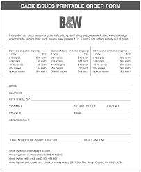 Black & White Back Issues Order Form