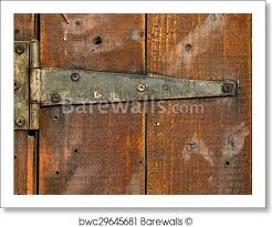 art print of old rusty metal door hinge