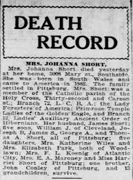 Short, Johanna Connolly Obit PP 30 Sep 1916 Pg 3 - Newspapers.com