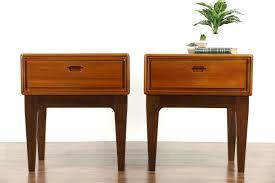 sold  pair of midcentury modern  vintage teak nightstands or
