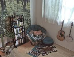 spare room/library set up. seating area in corner, her miscellany  instruments hanging. Indie Bedroom ...