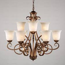 vintage 9 light glass shade two tiered shabby chic chandelier