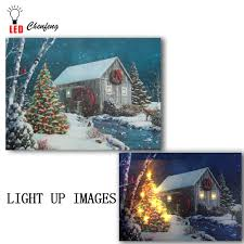 Canvas Christmas Prints With Led Lights 7color Change Flicking Leds Lighted Canvas Print Christmas Tree Falling Snow Cabin Oil Painting Canvas Wall Art Home Decor Gifts