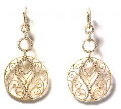 art deco chandelier earrings 18k rose gold 1 4ct vs d f