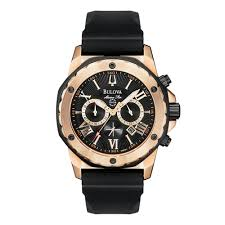 bulova watches beaverbrooks the jewellers bulova sport marine star rose gold tone chronograph men s watch
