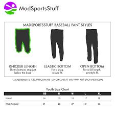 Youth Medium Baseball Pants Size Chart Amazon Com Madsportsstuff Youth Knickers Baseball Pants