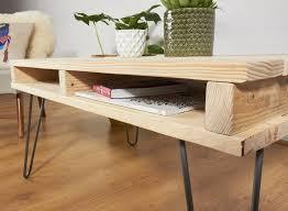 DIY Reclaimed Pallet Coffee Table With Metal Legs  Wooden Pallet Pallet Coffee Table With Hairpin Legs