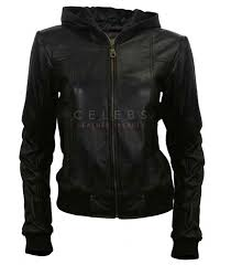 women hoo style black leather jacket