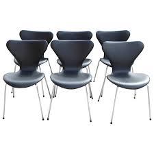 jacobsen furniture. six arne jacobsen chairs by fritz hansen black leather model 3107 1 furniture r