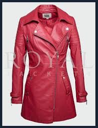 womens slim fit leather trench coat md long moto zipp