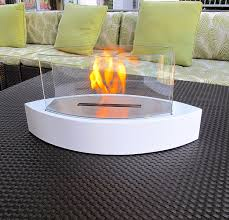 com chic fireplaces concord white tabletop ventless bio ethanol fireplace indoor outdoor portable non toxic eco friendly home kitchen