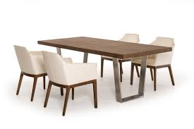 Modrest Byron Mid-Century Walnut & Stainless Steel Dining Table