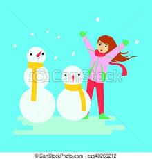 Happy Girl Making Snowmen Winter Activity Colorful Character Vector Illustration