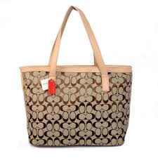 Coach Logo Monogram Medium Khaki Totes BJU