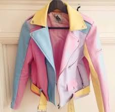 jacket colorblock biker jacket color block jacket leather jacket colorful 90s style pastel