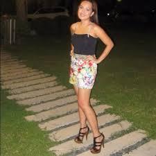 In mini redhead skirt