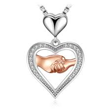 jewelrypalace mother love hand to hand cubic zirconia pendant necklace 925 sterling silver rose gold 45cm chain gifts for women pendants pendants