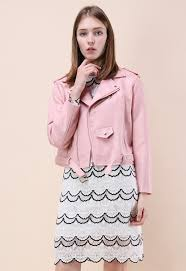 more views undeniably chic faux leather biker jacket in pink