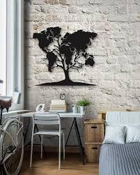 worldmap on tree metal wall art
