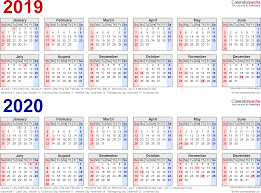 2019 2020 Two Year Calendar Free Printable Excel Templates