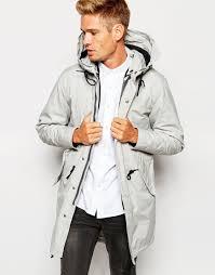 Light Grey Mens Parka Elected Homme Premium Parka With Removable Bomber Jacket